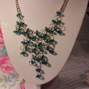 "Blue Bead Bib Style Necklace 18"" L"